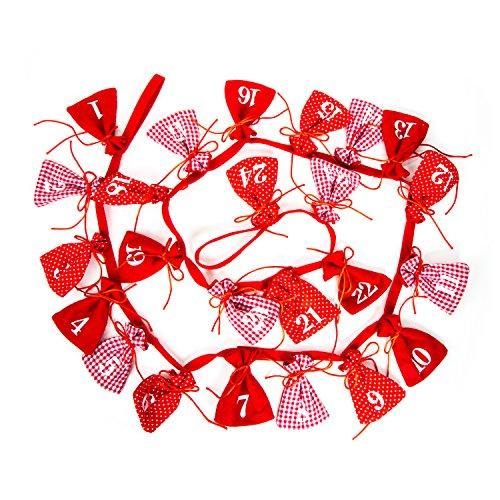 Set di 24 sacchettini dell'Avvento rossi e bianchi a quadretti da appendere, 8 x 12 cm, per calendario dell'Avvento. Set per bambini e adulti, piccoli sacchetti in stoffa di cotone