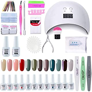 Elite99 Lámpara UV LED para Uñas 24w 12 Colores Kit de Esmaltes Semipermanentes en Gel UV LED Base y Top Coat Removedor...
