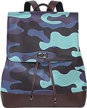 Ahomy Damen Leder-Rucksack Camouflage Wasserdicht Anti-Diebstahl Mode Schulrucksack Casual Daypacks