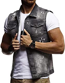 Jofemuho Mens Washed Button up Classic Ripped Distressed Denim Vest Jacket Coat
