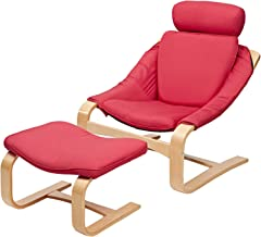 AFT Fabric Lounge Chair with Foot Rest, AFT-CH137, Red, H 100 x W 50 x D 120 cm, DIY