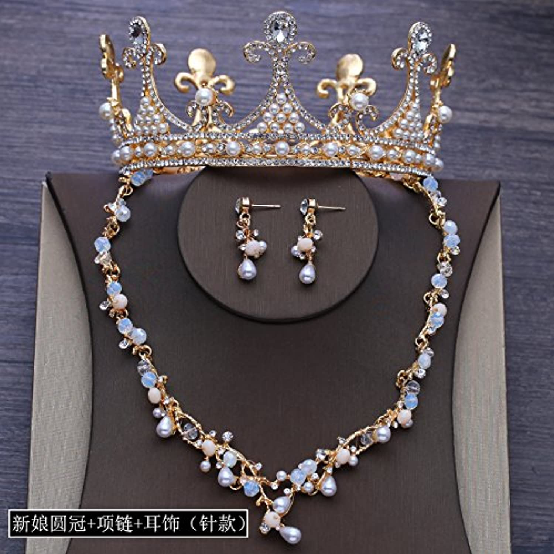 GTVERNHBridal Headwear golden Crown Round Crown Wedding Headwear Earrings Necklaces Dress Accessories