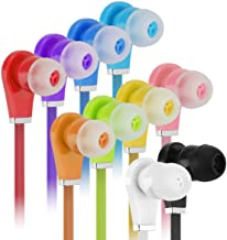 Bulk Earbuds with Microphone - Wholesale 100 Pack Earphones Noodle Headphone with Mic Multi Colored Ear Buds Bulk for Scho...