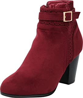 Cambridge Select Women's Buckled Strap Laser Cutout Perforated Chunky Stacked Heel Ankle Bootie