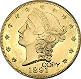 Exquisite Collection of Commemorative Coins United Stated 1891 1891 cc 1891 s 20 Dollars Liberty Head - Double Eagle with Motto Twenty Dollars Brass Metal Copy Coin It s Handmade Crafts Best Product