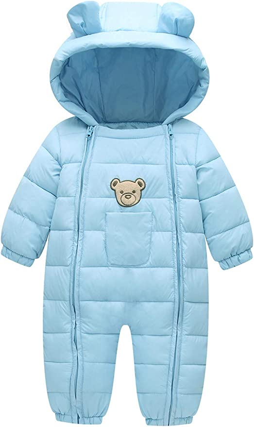 warmstraw Infant Baby Down Snowsuit Winter Warm Hooded Romper Zip up Outerwear Jumpsuit
