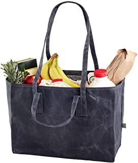 Colony Co. Reusable Tote Bag, Waxed Canvas, Has Both Shoulder Straps and Handles, Heavy-Duty, Biodegradable, Foldable, Gray