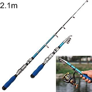 Fishing 36cm Portable Telescopic Sea Fishing Rod Mini Fishing Pole, Extended Length : 2.1m, Black Clip Reel Seat Fishing Rod