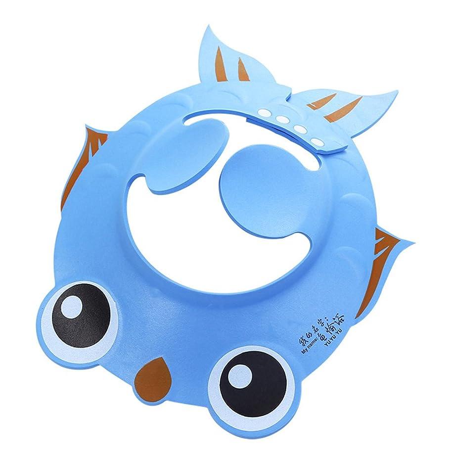 蒸発反射着陸Yardwe ベビーシャワーキャップ帽子耳保護パッド付き調節可能なシャンプーシャワーバイザー(ブルー)