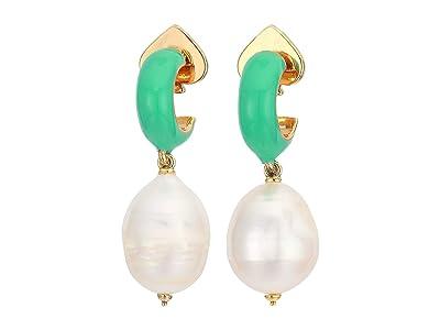 Kate Spade New York Candy Drops Enamel Pearl Drop Huggies Earrings (Turquoise) Earring