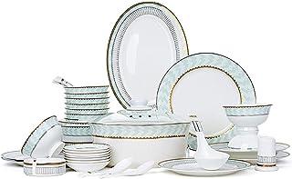 YANJ Service de Vaisselle en céramique avec 46 pièces, Bol/marmite/Plat/cuillère | Ensembles de Vaisselle en Porcelaine, A...
