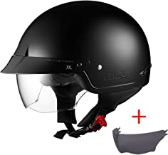 GLX Unisex-Adult Size M14 Cruiser Scooter Motorcycle Half Helmet with Free Tinted Retractable Visor DOT Approved (Matte Bl...