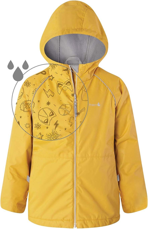 Therm Boys Rain Jacket - Lined Kids Raincoat w Magic Pattern - Lightweight Coat