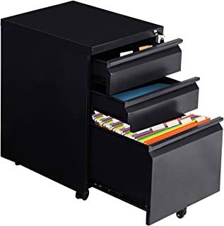 Giantex 3-Drawer Mobile File Cabinet with Lock Key Steel Pedestal Storage for 5 Rolling Casters, A4 Drawers (Black)