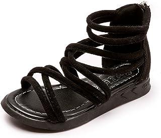 df9280c9 Sandalias Niños Verano Niñas Zapatos Niños Sandalias romanas Planos  Cremallera Posterior Flock Tobillo Cut-Out