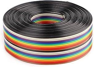 Aramox platte lintkabel, kleurrijke 1,27 mm afstand pitchkabel 20P platte regenboog lintkabel Draadbreedte 2,54 cm(3 Meters)