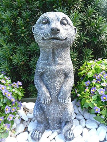 Steinfiguren Spicker Steinfigur Erdmännchen, 162/1 Gartenfigur Steinguss Tierfigur Basaltgrau