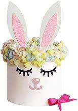 Sakolla Glitter Rabbit Cake Toppers, Bunny Cake Decoration Picks for Kids Birthday Party Baby Shower