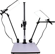 Albinar High Load 28 inch Copy Macro Stand with 15.75 inch x 19 inch Base, Quick Release Mount and Two Daylight Spectrum 5600K 16W LED Lights