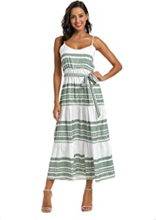 Women's Spaghetti Strap Print Midi Dress with Tie Waist