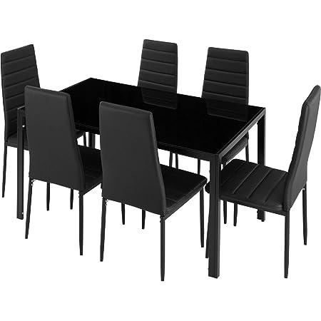 TecTake Groupe pour Salle à Manger pour 6 Personnes, Plateau de Table en Verre Trempé Robuste, Cuir Synthétique, Cadres Stables en Acier, Noir