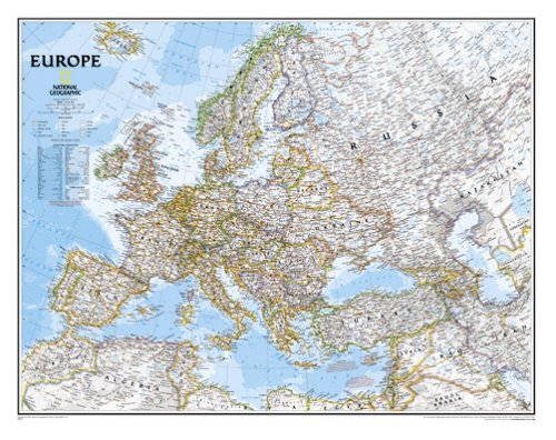 National Geographic Maps Europe Classic Wall Map Map Type: Enlarged and Laminated (35 H x 45 W)