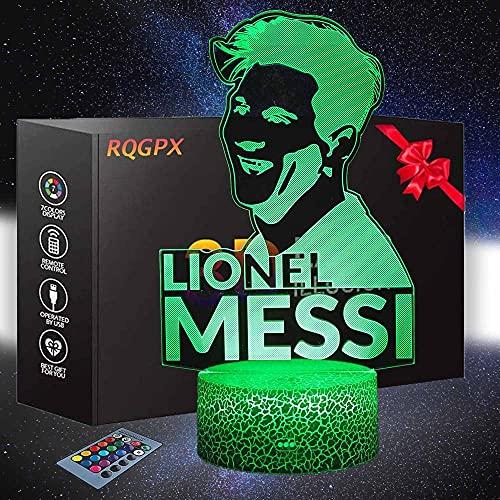 Lámparas de luz nocturna 3D efecto visión LED luces de noche Babe guía sala de juegos suministros de Navidad regalo ideas para los amantes de los juegos niños Lionel Messi