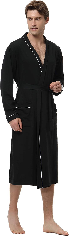 Aibrou Mens Cotton Robe Lightweight Long Lounge Sleepwear Knit Bathrobe