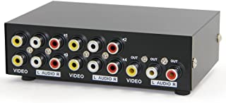 Panlong 4-Way AV Switch RCA Switcher 4 in 1 Out Composite Video L/R Audio Selector Box for DVD STB Game Consoles