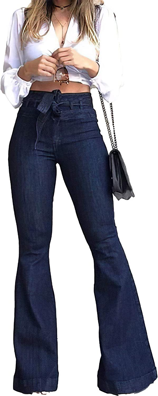Pantete Womens High Waisted Bell Rise Ranking OFFer TOP1 Fl Jeans Denim Bottom