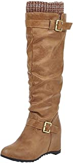 Kauneus Womens Fashion Buckle Strap High Boot Knitting Patchwork Lined Hidden Wedges Mid Calf Ruched Boots