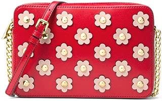 Michael Kors Jet Set Floral Applique Leather Crossbody Bag in Bright Red