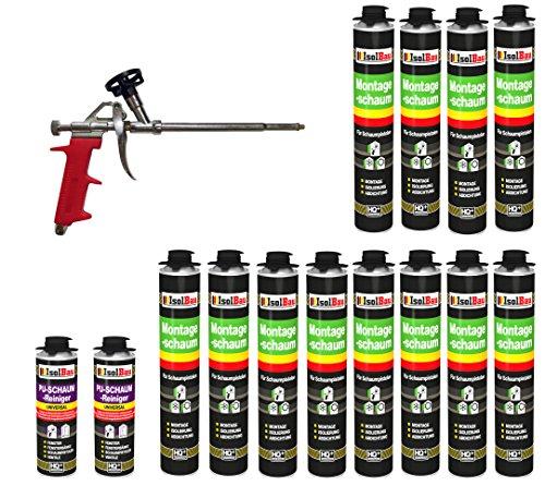 Bauschaum SET Pistolenschaum 12 Dosen 750 ml Montageschaum 1K PU-Schaum + 2 Reiniger + 1 Schaumpistole Füllschaum Dämmschaum Innen Aussen Fenster Türen