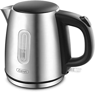 Electric Kettle, Gevi 1 Liter Stainless Steel Small Cordless Tea Kettle, Hot Water Boiler with 1500W Strix Control