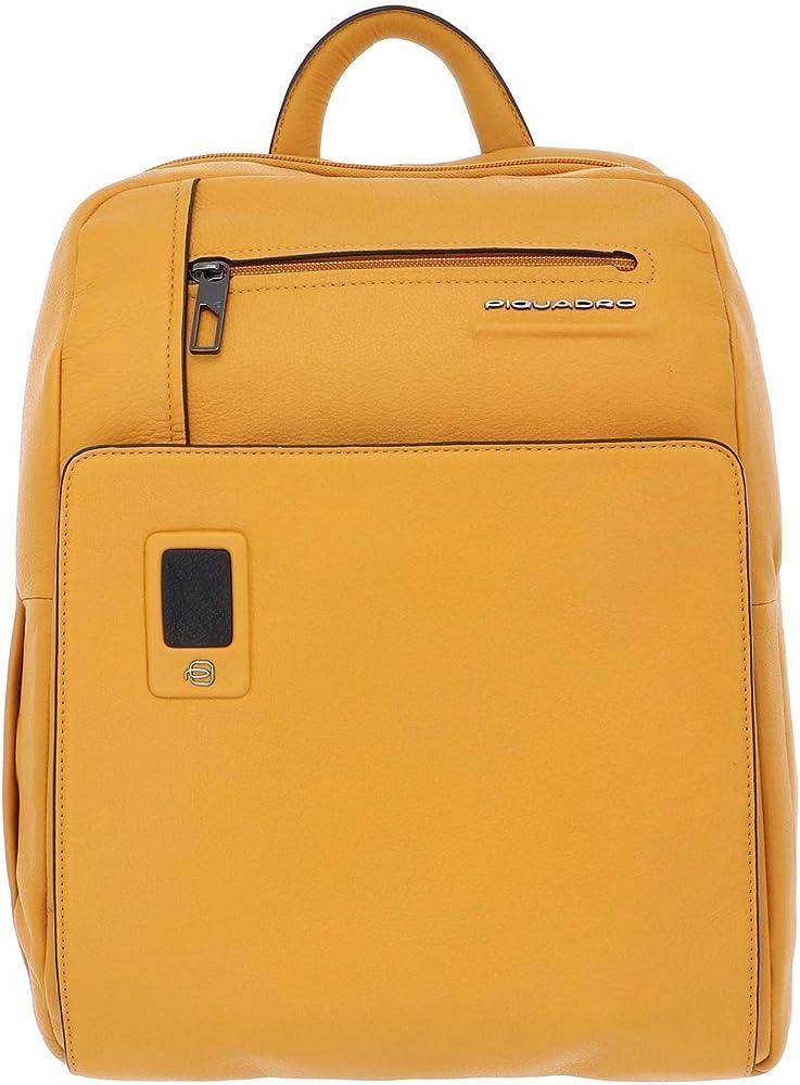Piquadro akron business,  zaino in pelle unisex, scomparto laptop, giallo ocra