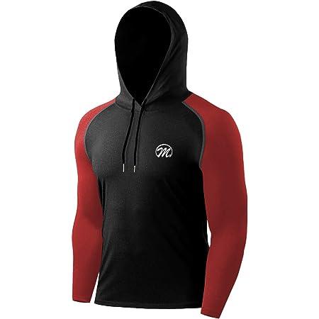 MEETWEE Thermal Running Tops for Men, Lightweight Sport Shirt Long Sleeve Base Layer T-Shirt Winter Sweatshirt Pullover Hoodies for Outdoor Fitness Gym Jogging