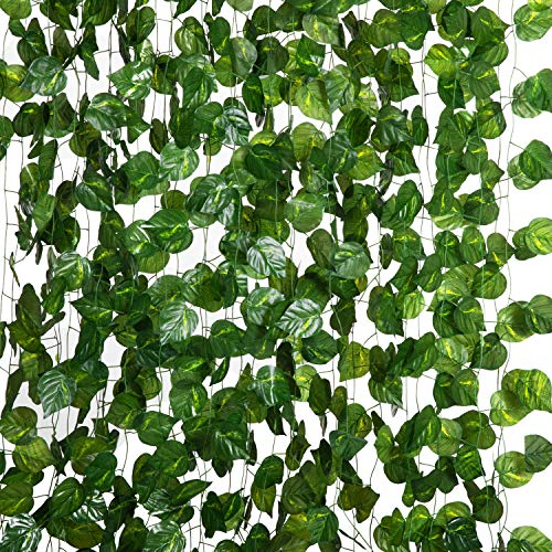 Artificial ivy vines, 12 Pack 84FT Fake leaves Hanging Greenery Garland Decoration Artificial Plants for Bedroom, Wall, Wedding, Garden Decor(Grape)