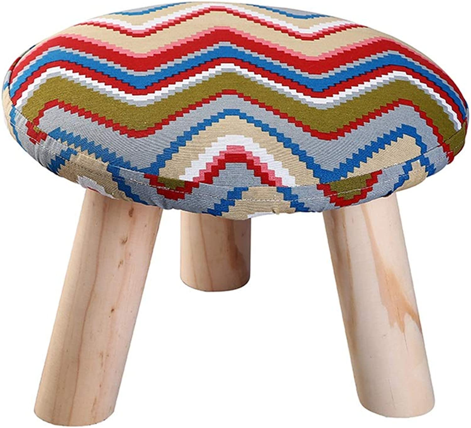 XRXY Stool, Solid Wood Stool, Foyer Changing shoes Stool, Low Stool, Cloth Round Stool, Living Room Sofa Small Square Stool, 5 colors, 3 Shapes (color   A, Size   1 )