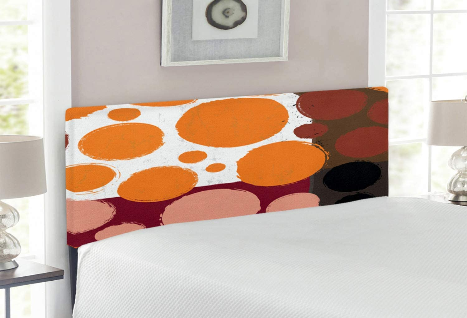Ambesonne Geometric online shopping Headboard Vibrant Circle Tone Direct sale of manufacturer Stroked Brush
