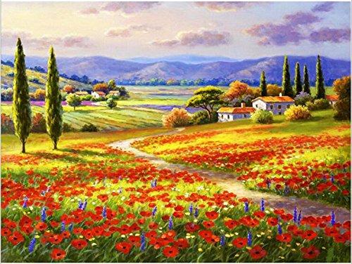 Queenlink complète Collez-le DIY carré Diamant Broderie peintures Strass Croix Fleurs Field