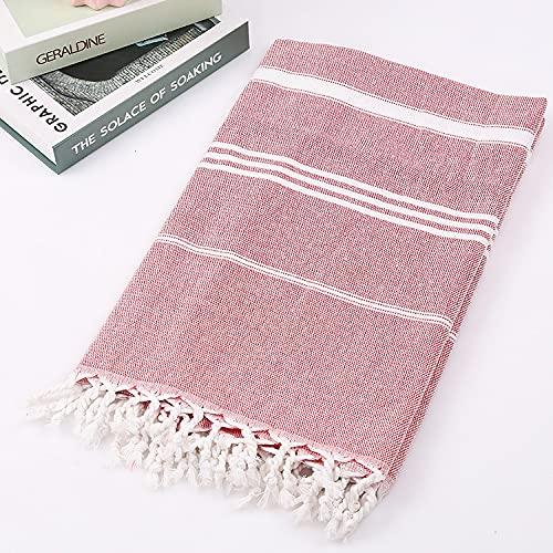 Hokorini de traditionele Hamamdoek Strandlaken strandhanddoek badhanddoek badlaken saunahanddoek 100% Organisch Katoen sneldrogend absorberend Lichtgewicht klein pakformaat voorgewassen(100x180cm)