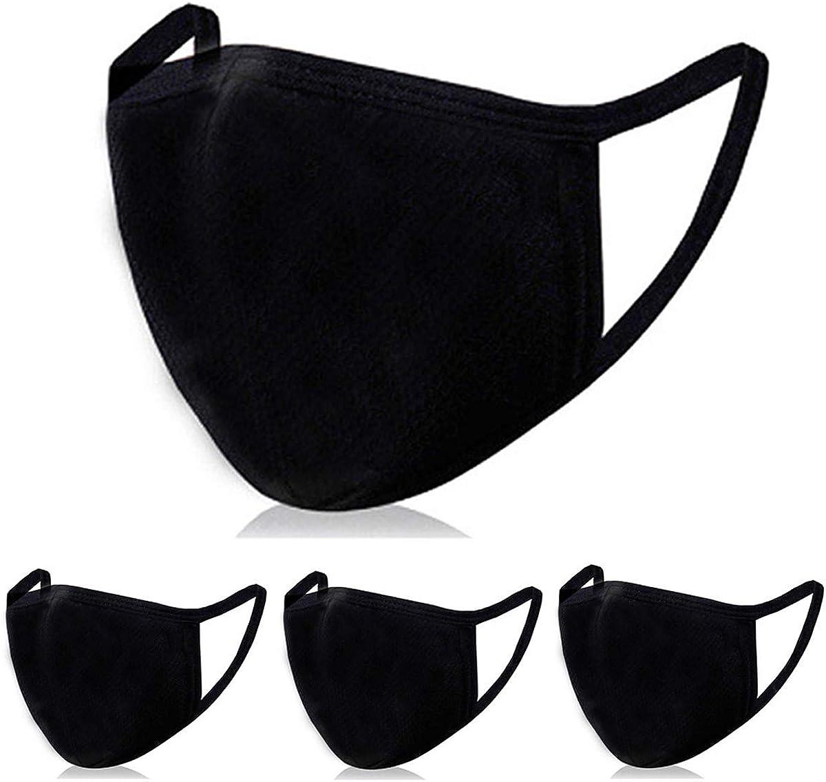 4 PCS Fashion Protective, Unisex Black Dust Cotton Mask with Filter Pocket, 100% Organic Cotton Fabric