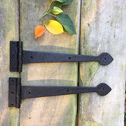 Antikas - 2 bisagras largas para colgar contraventanas - bisagras de hierro medievales - juego de bisagras como antiguas