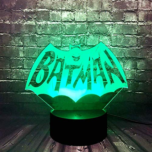 Batman Logo Lámpara Justice League DC Series Signo de dibujos animados Forma de dibujos animados Interruptor de noche Luz de noche óptica óptico Lámpara de mesa para niño Dormitorio Dormitorio Cumplea