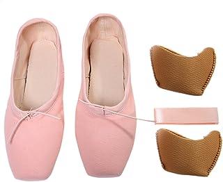 a3b58a46f5e4b DoGeek Chaussure de Ballet de Pointe Satin Chaussure Danse avec Ruban  Satin