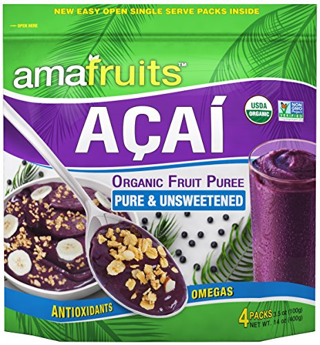 Amafruits Acai Berry Frozen Puree Pure and Unsweetened / USDA Organic / Non-GMO Certified / Antioxidant Rich Superfruit / 24 Packs x 3.5oz