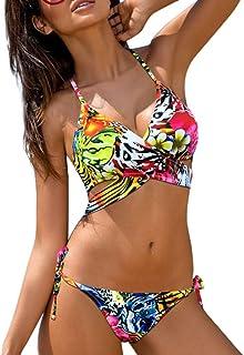 17e07d500676 Rawdah- 2PCS Sexy Bikini Donna Mare Push up, Bendare Stampare Floreale Costume  da Bagno