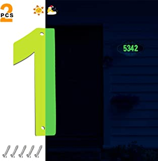 Glow in The Dark House Numbers 4.3-Inch Heigh,Fluorescent Stainless Steel Address Numbers for Home Yard Street,Modern House Number 1 with Matching Screws, 2 PCS