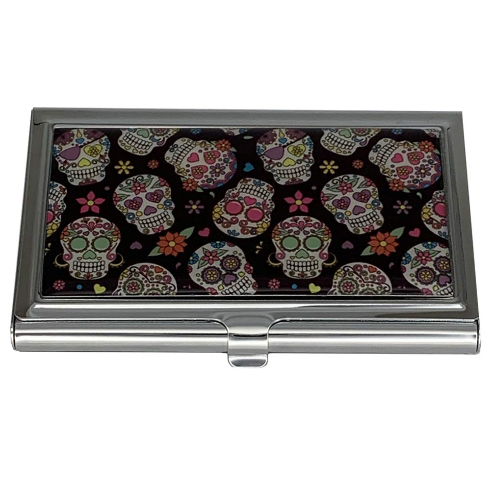 Day of the Dead Sugar Skulls Metal Seattle Mall ID Case Business Holder Card New life
