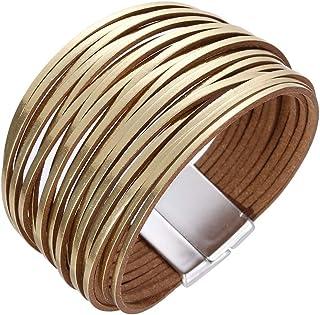 VONRU Leather Wrap Bracelet for Women - Charm Boho Multilayer Gorgeous Bracelets Wristbands - Casual Braided Handmade Magn...